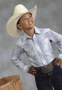 13c4a2967 Blue Linear Plaid Long Sleeve Shirt. Cowboy Outfitters · Kid s Western Wear