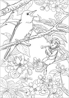 Leprechaun Playing A Flute Coloring Pages Adult Color