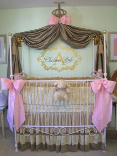 Modern French Nursery, This baby girl's nursery is a glamorous, modern take on the French Baroque style. It's a sophisticated nursery.  The light mint walls with gold accents were inspired by the Paris Laduree shop known for macarons