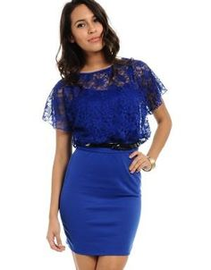 (CLICK IMAGE TWICE FOR DETAILS AND PRICING) Sheer Lace A- Line Dress Royal Blue. This fanciful dress features a sheer floral lace top with lace short sleeves. Fits with a flirty a-line skirt and a bow belt giving it a fun look.. See More Party Dress at http://www.ourgreatshop.com/Party-Dress-C79.aspx