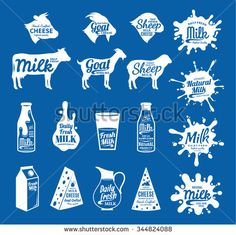Vector cheese and milk logos. Dairy products, farm animals icons and milk splashes with sample text. Cheese and milk icons collection for groceries, agriculture stores, packaging and advertising. Dairy Free Pizza, Dairy Free Soup, Dairy Free Snacks, No Dairy Recipes, Free Recipes, Dairy Packaging, Milk Packaging, Dairy Free Brownies, Milk Dessert
