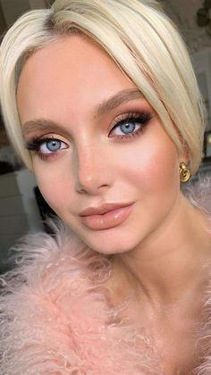 Wedding Makeup Blonde, Dark Hair Makeup, Bridal Makeup For Blondes, Wedding Makeup For Blue Eyes, Natural Wedding Makeup, Evening Wedding Makeup, Blonde Hair Blue Eyes Makeup, Natural Makeup For Blondes, Natural Glam Makeup