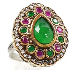 12g Turkish Emerald, Ruby & Cz 925 Sterling Silver Ring Jewelry s.9 SR205740 | eBay