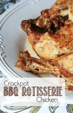 Crockpot BBQ Rotisserie Chicken - a whole chicken in the crockpot, with a BBQ twist!
