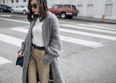 Neutral Staples – http://tsangtastic.com | Instagram @tsangtasic   byTSANG Fuzzy Cardigan Coat, Chanel Blue Boy Bag, Gentle Monster Sunglasses, Khaki Pants, Snake Boots