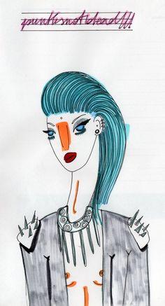 marker e pennarellino su cartastraccia  zazzi illustratrice  #punk #markercolor #ink