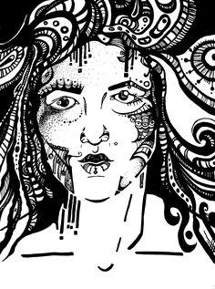Narcissism (Medusa)  by Zeljka GEA Spehar  Follow me on instagram: geaguardians      #art #vector #illustration #illustrator #selfportrait #ZeljkaGeaSpeharArt #blackandwhite #horror #narcissism #medusa #greekmythology  #reflections #nightmare #drawing #thinking