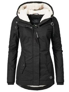 """Best Sale Shop - Buy """"Winter Warm Coat Female Windproof Slim Outerwear Fashion Elastic Waist Zipper Pocket Hooded Drawstring Overcoats Autumn Clothes"""" from category """"Women's Clothing & Accessories"""" for only USD. Mode Mantel, Hooded Winter Coat, Women's Winter Coats, Warm Winter Jacket, Black Winter Coat, Fall Winter, Winter Wear, Winter Season, Autumn Clothes"""