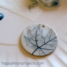 Oooooh, I need to make a few of these... | Leaf-Imprint Polymer Clay Pendant at happyhourprojects.com