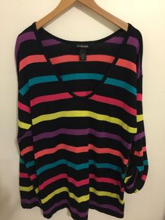 Lane Bryant Women's Multi Color Lightweight Sweater Plus Size 14/16  FREE SHIP #LaneBryant #ScoopNeck