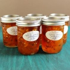 Spicy Peach Jalapeno Jam is sweet with a subtle kick from the peppers. It's great served with cheese and crackers. Peach Jalapeno Jam, Jalapeno Jelly, Peach Jam, Pepper Jelly Recipes, Hot Pepper Jelly, Jalapeno Recipes, Jam Recipes, Canning Recipes, Canning 101