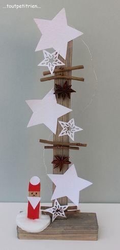 #bricolage #enfants #noel Etoiles en papier recouvertes de sucre sur un support bois, Père Noël sur une rondelle d'ouate confectionné avec un demi batonnet de glace. www.toutpetitrien.ch/bricos/ - fleurysylvie