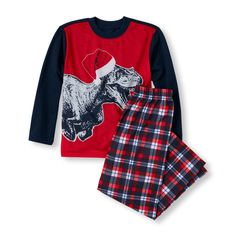 Boy's Long Sleeve Dino Top and Plaid Pants PJ Set