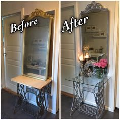 Old sewing machine-table makeover. Painted by chrome spray paint.