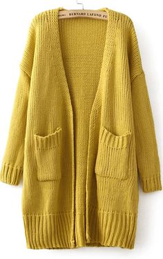 Boyfriend Sweater....love them!!!--->Pockets Vintage Loose Yellow Cardigan