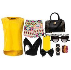 #outfit del día #short de figuras geométricas Camisa amarilla Accesorios Negros #tipsparaellas