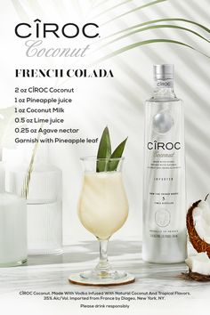 Fancy Drinks, Cocktail Drinks, Cocktails, Ciroc Coconut, Coconut Milk, Agaves, Refreshing Drinks, Summer Drinks, Kombucha
