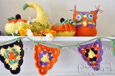 Crochet Fall Mantel with Owl, Pumpkins, Bunting and Squash