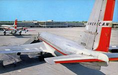 American Airlines Boeing Astrojet at Tulsa International Airport, circa New Aircraft, Boeing Aircraft, Passenger Aircraft, Military Aircraft, Boeing 720, Illinois, American Air, Vintage Airline, Aviation Industry