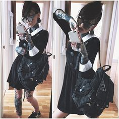 Nu Goth / Alternative - Footwear by @macbethfootwear Dress by @Disturbia Backpack by @Disturbia Shades by @cheapmonday #macbethfootwear #disturbiaclothing #cheapmonday