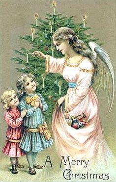 "Antique  ""A Merry Christmas"" Angel  Postcard"