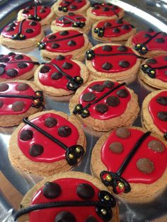Ladybug biscuits- the very bad tempered ladybug What The Ladybird Heard Activities, School Holiday Baking, Minibeasts Eyfs, Ladybug Crafts, Very Hungry Caterpillar, Cooking With Kids, Toddler Activities, Kids Meals, Mini Beasts