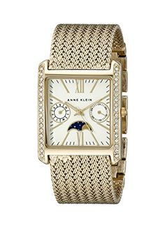 Women's Wrist Watches - Anne Klein Womens AK2002SVGB Swarovski CrystalAccented Rectangular Watch * Click image to review more details.