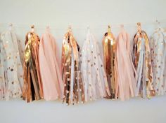 97 Rose Gold Wedding Ideas To Get Inspired 97 Rose Gold Wedding Ideas To Get Inspired Rose Gold Wedding Garland - Rose Gold and Blush tassel garland - Rose Gold Bridal Decoration - Rose gold polkadots Décoration Rose Gold, Rose Gold Theme, Rose Gold Decor, Blush And Gold, Blush Pink, Gold Bridal Showers, Gold Baby Showers, Bridal Shower Decorations, Rose Gold Party Decorations