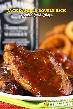 Jack Daniels Double Kick Pork Chops are marinated in a fabulous mixture of Jack and spices.  The red chili pepper gives these pork chops a little heat, but the whiskey adds such an amazing smoky and sweet flavor that you really have to try this recipe! Perfect on the grill on in the oven.