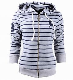 Wholesale Ralph Lauren stripe navy big pony full front zip Women hoodies