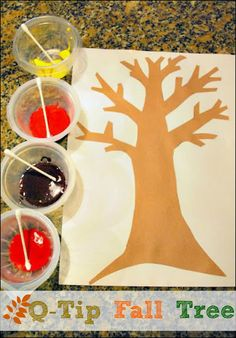 Mess For Less: Painting a Q Tip Fall Tree