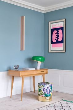 Cilindro Stool The Apartment–Journelles Copenhagen Apartment, Wainscoting, Scandinavian Interior, Interior Design Inspiration, Room Inspiration, Wall Colors, Hallway Colours, Colorful Interiors, Snoopy