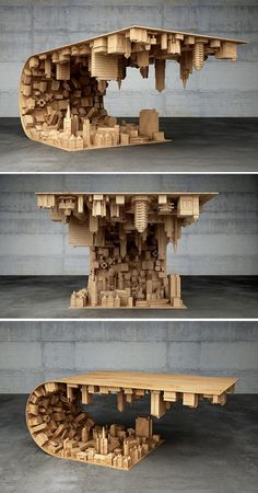 Designer Stelios Mousarris has created a coffee table inspired by the film Inception, presenting a city curving up and over itself.