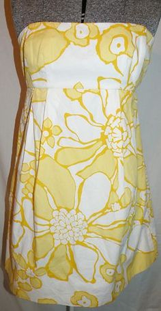 Michael Kors Strapless Dress 8 Yellow White Floral Above Knee $59.99 free shipping!