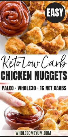 Paleo recipe low carb chicken nuggets (without glu .- Paleo low-carb chicken nuggets (gluten-free) – This paleo, low-carb chicken nuggets recipe is easy to prepare with just 5 ingredients. You can make them fried or baked! Chicken Nugget Recipes, Low Carb Chicken Recipes, Healthy Low Carb Recipes, Low Carb Dinner Recipes, Ketogenic Recipes, Paleo Recipes, Real Food Recipes, Dessert Recipes, Healthy Chicken Nuggets