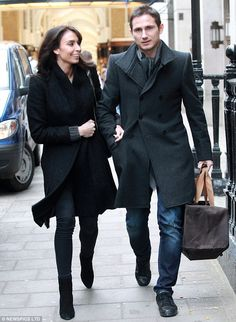 Treating themselves! Christine Bleakley stays close to fiancé Frank Lampard as they hit the shops in the West End Christine Bleakley, West End, Men's Style, Gentleman, Soccer, Shops, Calm, Mens Fashion, Formal