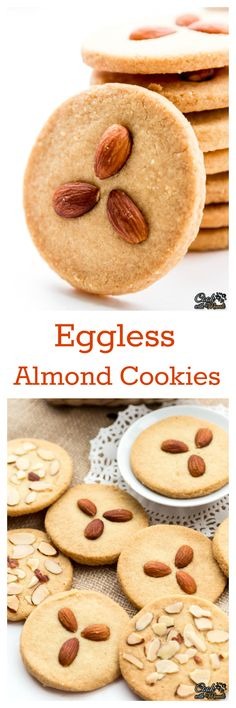 Crispy & Buttery Indian style Eggless Almond Cookies. So good with coffee or tea! #eggless #cookies #baking (Butter Substitute Baking)