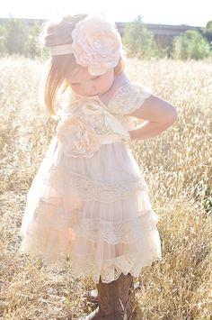 *Tiers Of Beautiful Cream Champagne Lace, cap sleeves are the perfect touch of elegance! This dress is the perfect mix of vintage, rustic! Sash