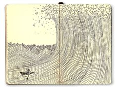 paying respect to The Great Wave Off Kanagawa, the famous Japanese woodblock print via Moleskine.