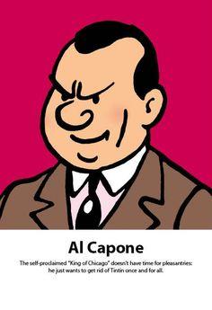 'Tintin in America' character for Al Capone. Al Capone, Facebook Likes, Bad Boys, Art Gallery, Cartoon, Adventure, Comics, Drawings, Galleries