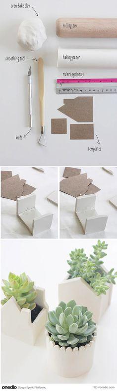 Küçük bitkiler için hamurdan saksılar