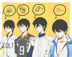 Sport Animes from Left to Right: Yowamushi Pedal, Haikyuu, Ace of Diamond, and Free! Iwatobi Swim Club