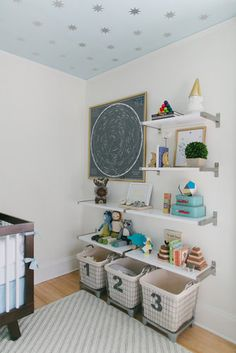 Shelving idea for bubs room
