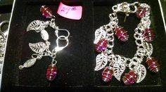 Hot pink caged glass stones with silver leaves