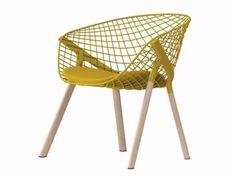 Steel and wood easy chair KOBI LOUNGE WOOD - 046 - Alias