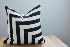 Thin Stripe Black and White Pillow Cover, Cushion Cover, Throw Pillow 18x18, 20x20, Invisible Zipper