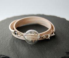 Blütenschmuck - °°° Pusteblumen Armband echt Leder°°° - ein Designerstück von Mirakel1807 bei DaWanda Vintage, Bracelets, Gold, Jewelry, Fashion, Craft Gifts, Armband, Flowers, Leather