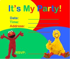 sesame street party invitations template RCmC7KRv
