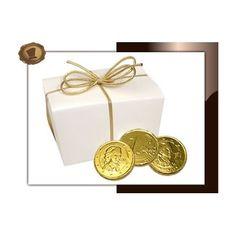 Chocolade munten in ballotin klein 230 gram.  Smaak Melkchocolade. Te bestellen vanaf 100 stuks.  #chocolade #muntjes