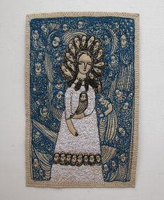 Cathy Cullis - fantastical blue - an original embroidery artwork. via Etsy. Free Motion Embroidery, Free Machine Embroidery, Embroidery Fabric, Fabric Art, Cross Stitch Embroidery, Art Through The Ages, Contemporary Embroidery, Textiles, Textile Artists